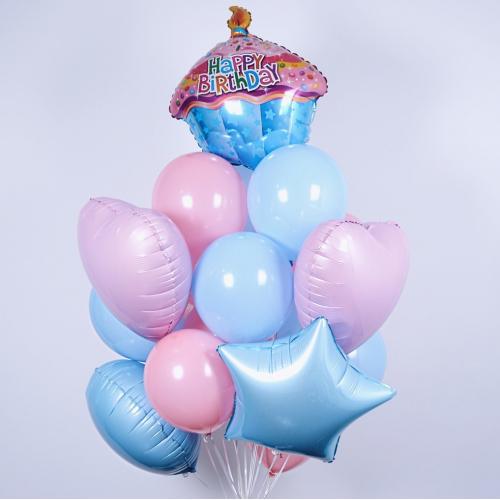 букет шариков с гелием на др купить в Москве. Мимо Дутти